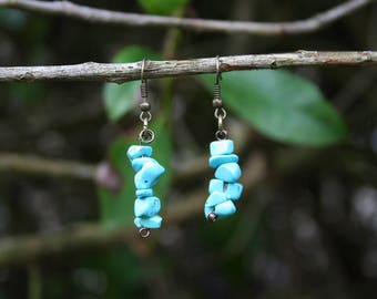 Earrings with gemstones, Magnesite, turquoise, bronze, handmade / Stone earrings