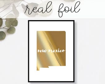 New Mexico State Print // Real Gold Foil // Minimal // Gold Foil Print // Decor // Modern Office Print // Typography // Fashion Print