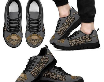 Tattooed Dad -Men-Sneakers shoes skull -Perfect gift for father day