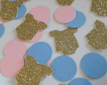 Gender Reveal Party, Gender Reveal Confetti, Baby Shower Decor, Gender Reveal Decor,  Baby Shower Confetti, Pink Blue Confetti, Onesie Decor