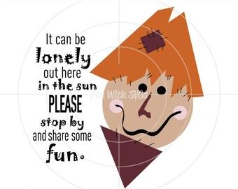 Lonely Scarecrow, Scarecrow SVG, Scarecrow Decoration, Scarecrow Hat, Scarecrow Clip Art, SVG Files, Cricut, Silhouette, SVGs Printable