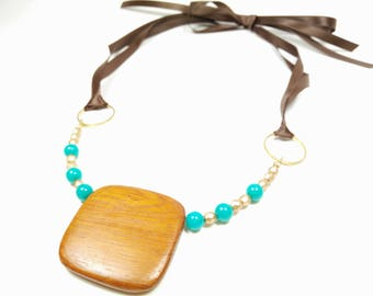 Robles Wood with Matte Turquoise Green Czech Glass Bead Ribbon Tie Necklace