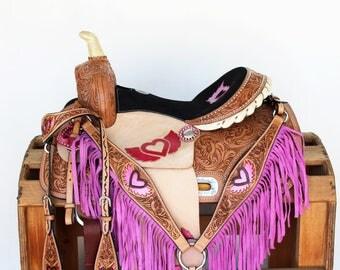 Pink Heart & Wings Fully Tooled leather Handmade western Horse Trail Pleasure Barrel Racer Racing Saddle Fringe Bridle Breast Collar Set