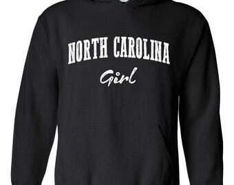 NC Girl North Carolina Flag Charlotte Map 49ers Home of University of NC UNC Unisex Hoodie Sweatshirt