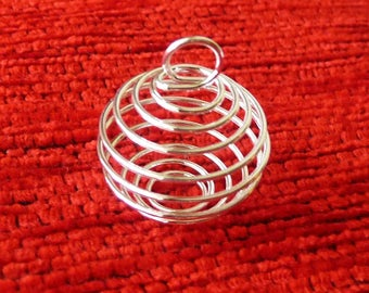 Bead Cage, Pearl Cage Pendant, 20x25mm Silver Plated Wire Bead Cage Pearls, Spiral Bead Cage, Wire Pendant Holders, Necklace Connectors