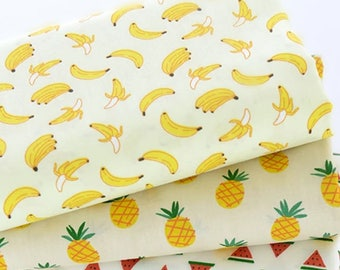 Super cute tropical fruit print pattern cotton fabric/ Pinapple Fabric/ banana fabric/watermelon fabric/fat quarter/ half meter