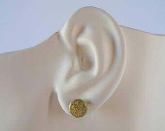 Olive Green Gold Leaf Stud Earrings