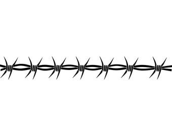Barbed Wire #11 Straight Razor Barb Fence Fencing Jail Western Protection Security Prison .SVG .EPS .PNG Clipart Vector Cricut Cut Cutting