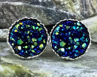 Blue Rainbow Druzy Earrings - Druzy  - Stud Earrings - Blue Druzy Earrings - Bridesmaid Gift - Drusy - Druzy Jewelry - Earrings - Jewelry -