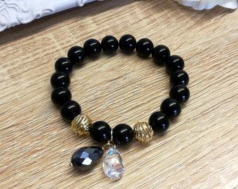 Swarovski bracelet,Black Agate Bracelet, Gemstone Bracelet, Agate jewelry, agate bracelet, Swarovski  jewelry