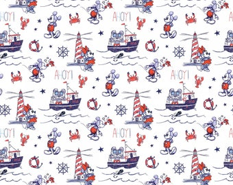 1 yard Disney Mickey and Minnie fabric, Ahoy Mickey, cotton fabric,