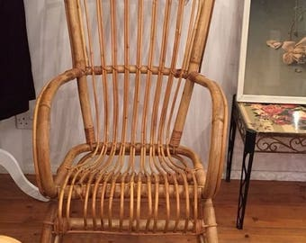 SOLD Bamboo and Rattan Rocking Chair