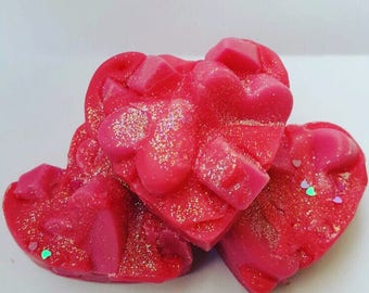 Bubblegum Strawberry Passion Wax Heart Chunk/Strong Scented/Wax Tart