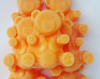 Honey & Tangerine Teddy Wax Melts, Wax Tarts, Fruit scented wax melts,Strong scented wax melts
