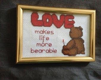 6x5 Finished Bear Cross Stitch