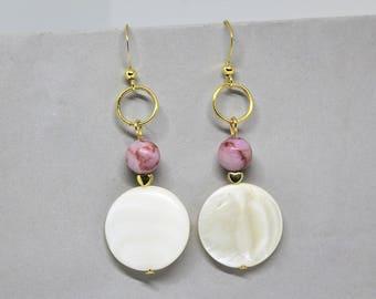 Blush Pink Earrings, Blush Earrings, Flat Disc Earrings, Circle Statement Earrings, Pink Earrings,