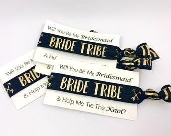 Bride Tribe Hair Ties, Team Bride, Bridesmaid Proposal, Bachelorette Favor, Gold Foil, Bridesmaids Hair Ties, Handmade Ponytail missponytail