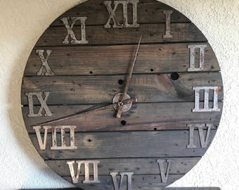Large Wall Clock, Wood Clock, Large Clock, Roman Numeral Clock, Big Clock, Round Clock, Wooden Wall Clock, Rustic Clock, Industrial Clo