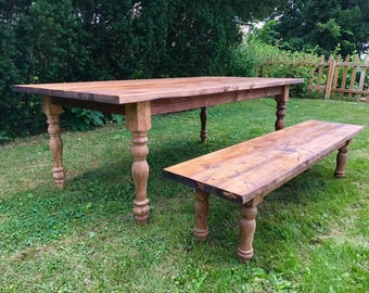 Farmhouse Table, Farm Table, Large Farmhouse Table, Rustic Table, Long Farmhouse Table, Farm Dining Room Table, Farm Table with Turned Legs