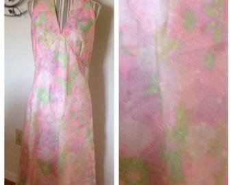 Anniversary Sale Vintage Pastel Floral Halter Dress