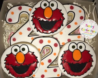 Sesame Street Elmo Happy Birthday Cookies - 1 Dozen (12 Cookies)