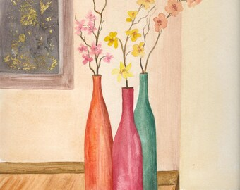 The three vases - original watercolor painting