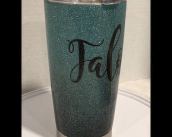 Personalized Glittered Stainless Travel Mug