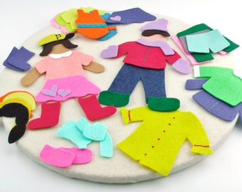 Wool Felt Paper Doll Set, Pretend Play Clothes, Felt People Quiet Toy, Felt Travel Toy for 3 year old, Felt Board Story Set, Child Quiet Toy
