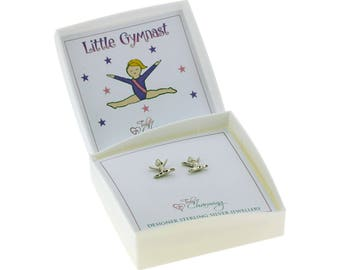 Sterling Silver Gymnastics Girl Earrings Gift Boxed