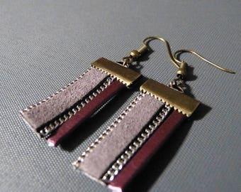 Earrings leather & faux