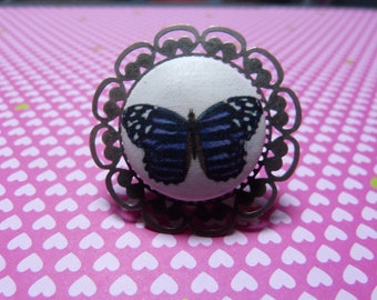 Vintage button ring Purple Butterfly fabric