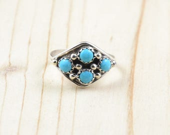 Woman ring Navajo silver ring, Native American turquoise ring, size 59-size 8.75
