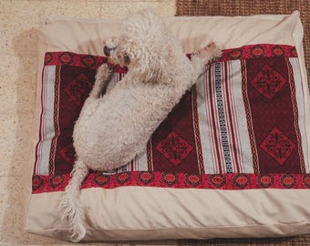 Dog Bed Cover-Corduroy-Bohemian Pet Bed Covers-Cream Corduroy-Washable-Zipper-Box style covers