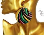 3D Rasta Striped Earrings, Lightweight Hand Painted Wood Earrings, Big Rasta Afrocentric Pan African Natural Hair Earrings,Abstract Earrings