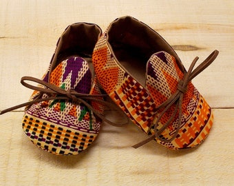 Orange Burgundy & Black African Kente Print Baby Booties