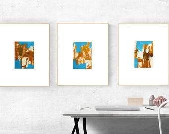 Abstract Gold Acrylic Painting Set of Three Small Painting Set of Wall Art Gold Blue Original on Canvas 5 x 7 Painting Textured Art Gift