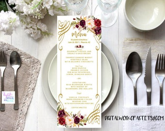 Wedding Menu Template, DIY Floral Bohemian Menu Printable, Table Menu Card,Reception Card,Editable PDF Template,Instant Download,boho,#lc168