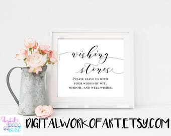 Wishing Stones Sign,Wishing Stones Printable,Wedding Guestbook sign Printable Wedding Guest Sign,Guest Table Sign,Instant Download,#AI-20