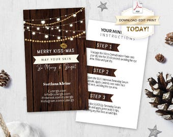 Rodan and Fields Merry Kissmas Mini Facial Cards, Editable PDF, Christmas Card, Merry Kiss-Mas, Christmas Card, Printable