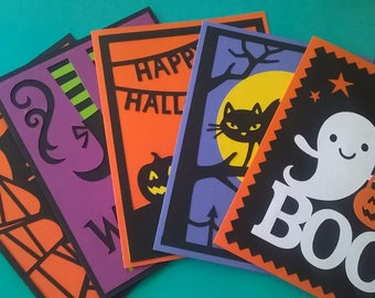 Handmade Halloween Greeting Cards; Holiday, Boo, Blank, Witch, Ghost, Pumpkin, Spider, Cat 5pk.