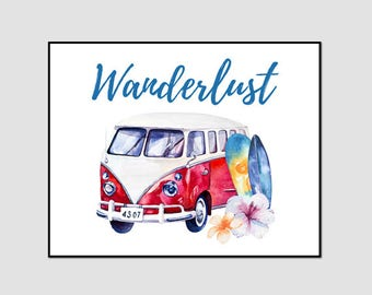 Wanderlust Print, VW Campervan wall art, VW campervan gifts, Campervan Prints, Campervan Picture, Campervan Poster, adventure Print, Art