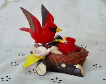 """1992 TAKARA """"Breezy Singers"""" Cardinal w Chick in Nest - Chirps When Touched"""