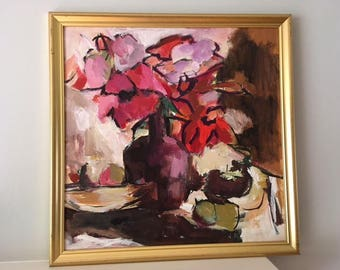 Mid Century Modern Signed Abstract Oil Painting on canvas in hues of purple/reds/pink/framed