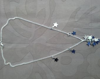 silver necklace, silver stars