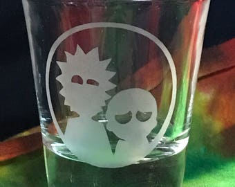 Rick and Morty custom etched shot glass