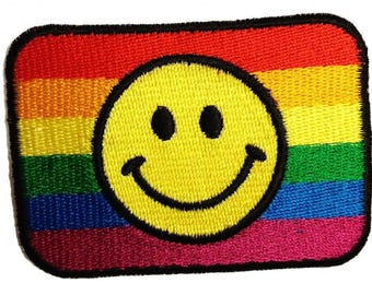 Aufnäher / Bügelbild - regenbogen Smiley Peace - bunt - 7,0 x 5,0 cm - by catch-the-patch® Patch Aufbügler Applikationen zum aufbügeln Applikation Patches Flicken