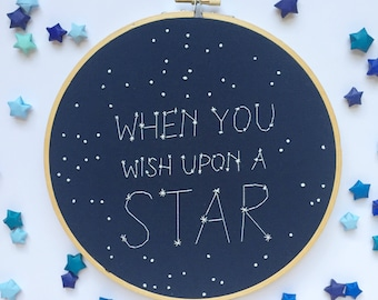 When you wish upon a star embroidery hoop - galaxy nursery - constellation hoop