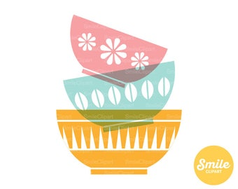 Stacked Bowls Clipart Illustration for Commercial Use | 0232