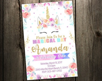 Unicorn Birthday Invitation, Unicorn Invitation, Magical Invitation, Rainbow Birthday Invitation, Watercolor, Glitter, Girl, Magical Unicorn