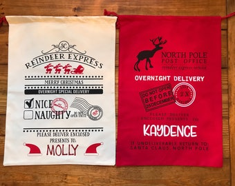 Personalized Santa sack - 17 styles / FREE SHIPPING / santa bags / monogrammed / canvas / christmas bags / rudolph / sleigh/ do not open